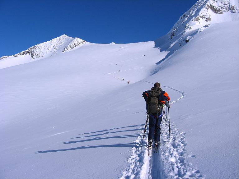 Foto: Andreas Koller / Ski Tour / Haute Route am Venediger (3674 m) / Anstieg am Rainerkees (links Hohes Aderl, 3506 m, rechts die W-Wand des Rainerhorn) / 21.04.2008 15:15:31