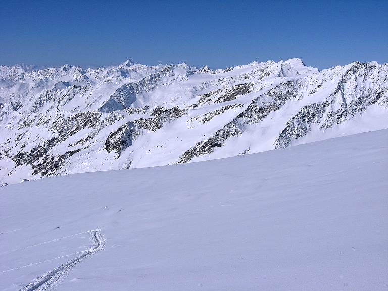 Foto: Andreas Koller / Ski Tour / Haute Route am Venediger (3674 m) / Blick über das Rainerkees nach SO zum Hochgall und seine Trabanten (3436 m) / 21.04.2008 15:14:44