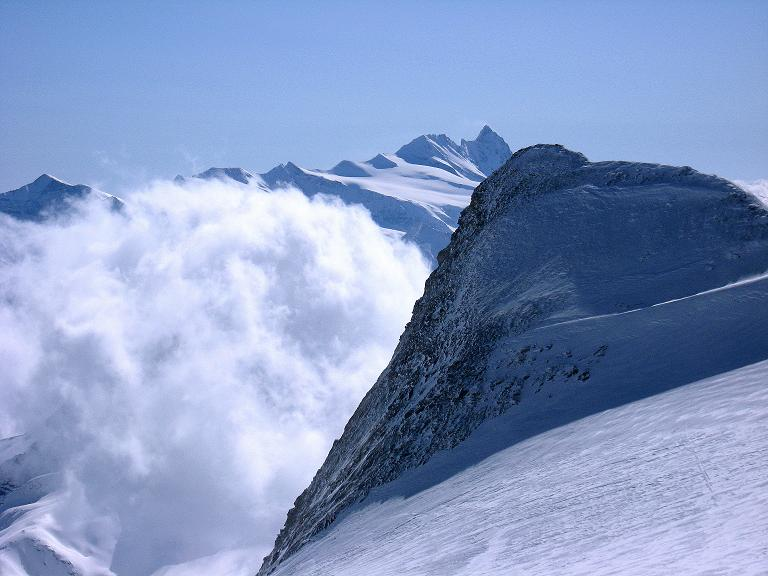 Foto: Andreas Koller / Ski Tour / Haute Route am Venediger (3674 m) / Über der Schwarzen Wand thront der Großglockner (3798 m) / 21.04.2008 15:12:29