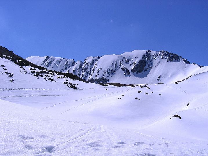Foto: Andreas Koller / Wander Tour / Vom Zauchensee auf den Gamskogel (2186m) / Blick zum Schneekarsattel und zum Steinfeldspitz W-Grat / 16.05.2008 01:44:44