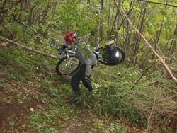 Foto: mime / Mountainbike Tour / Ötscher Runde / durch Naßschneeschäden war der Weg unter der Riffelscharte nicht fahrbar. Das Rad musste meist über die umgestürzten Bäume gehievt werden. / 17.05.2008 21:57:31