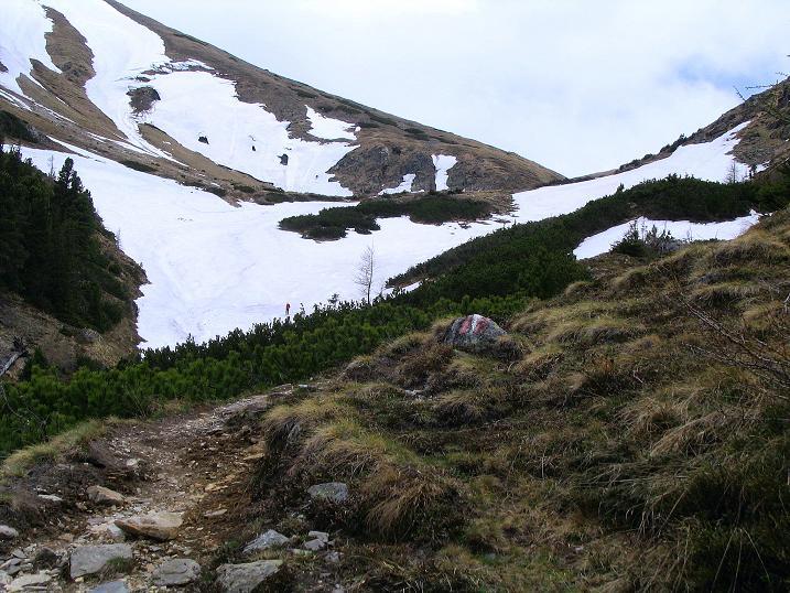 Foto: Andreas Koller / Wander Tour / Durch den Brandstätter Graben auf den Maierangerkogel (2356m) / Der tiefe Einschnitt ist das Brandstättertörl / 20.05.2008 00:42:14