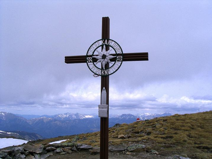 Foto: Andreas Koller / Wander Tour / Durch den Brandstätter Graben auf den Maierangerkogel (2356m) / Gipfelkreuz am Brandstätterkogel / 20.05.2008 00:32:57