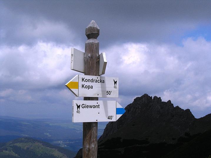 Foto: Andreas Koller / Wander Tour / Dolina Matej Laki und Malolaczniak (2096 m) / Wegweiser am Przelecz Kondracka / 29.05.2008 01:39:50