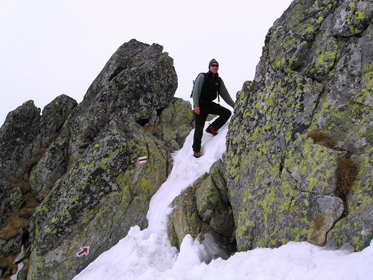 Foto: Andreas Koller / Wander Tour / Swinica (2301m) - Paradegipfel über Zakopane / Die kleine Scharte an der ersten Felsnase / 29.05.2008 22:55:13