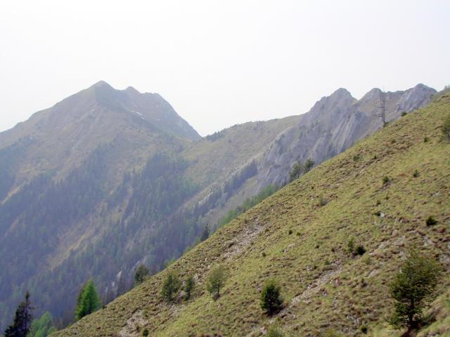 Foto: lacky / Wander Tour / Über die Graslitzen nach Förolach / der Abstieg, ein Blick zurück auf dem Vellacher Egel und Vellacher Sattel / 30.05.2008 14:44:46