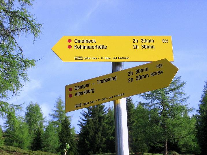 Foto: Andreas Koller / Wander Tour / Gmeineck - Trebesinger Hausberg (2592 m) / Wegweiser nahe der Bergfriedhütte / 02.06.2008 21:28:30