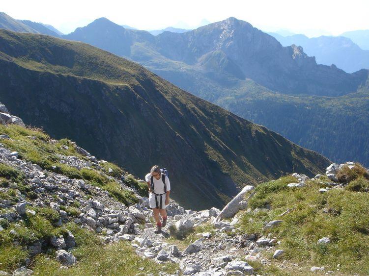 Foto: Manfred Karl / Wander Tour / Polinik über die Spielbodenalmen / Kurzes Flachstück vor dem felsig-schrofigen Gipfelhang / 02.06.2008 22:52:04