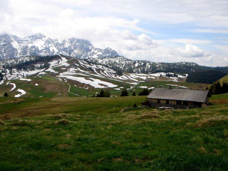 Foto: Manfred Karl / Wander Tour / Vom Soderbauer auf das Schwarzeck / Loferer Alm mit den westlichen Gipfeln der Loferer Steinberge / 03.06.2008 08:38:27