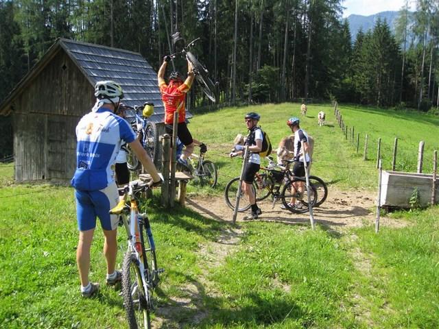 Foto: Jürgen Lindlbauer / Mountainbike Tour / Von Windischgarsten über Spital a. Pyhrn auf den Hengstpaß / Mehrere Male geht es über den Weidezaun, dann erwartet uns ein schöner Singletrail. / 22.06.2008 20:38:31