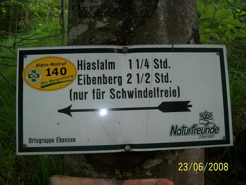 Foto: Wolfgang Dutzler / Wander Tour / Von der Offenseestraße auf den Eibenberg / Wegweiser am Start / 25.06.2008 18:29:54