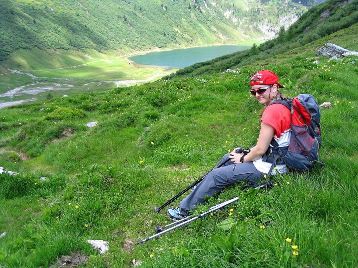 Foto: Andreas Koller / Wander Tour / Tappenkarseehütte - Weißgrubenkopf - Franz Fischerhütte (2369m) / Rast mit Tappenkarsee-Blick / 24.06.2008 16:28:41