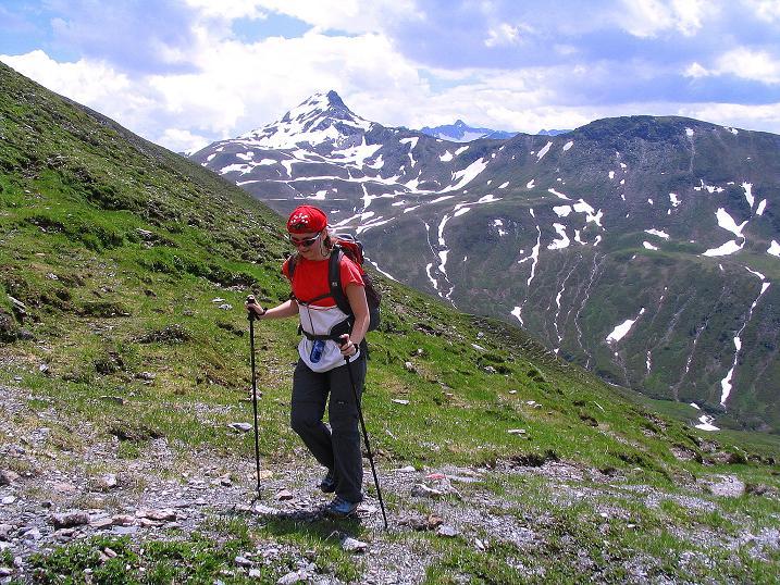Foto: Andreas Koller / Wander Tour / Tappenkarseehütte - Weißgrubenkopf - Franz Fischerhütte (2369m) / Aufstieg in die Weißgrubenscharte mit Glingspitze im Hintergrund (2433 m) / 24.06.2008 16:27:18