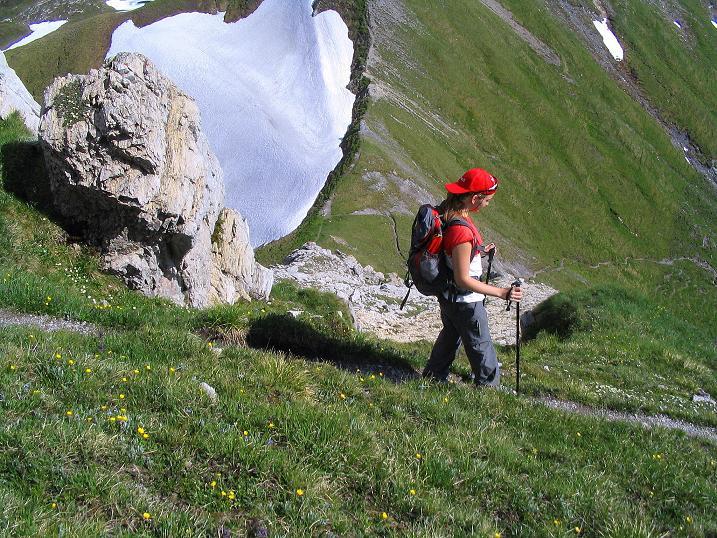Foto: Andreas Koller / Wander Tour / Tappenkarseehütte - Weißgrubenkopf - Franz Fischerhütte (2369m) / Tiefblick in die Weißgrubenscharte / 24.06.2008 16:17:02