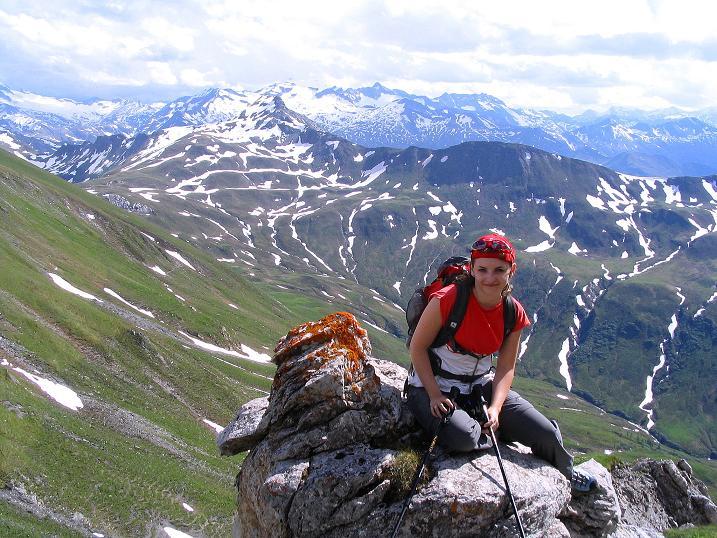 Foto: Andreas Koller / Wander Tour / Tappenkarseehütte - Weißgrubenkopf - Franz Fischerhütte (2369m) / Abstieg vom Weißgrubenkopf gegen die Hohen Tauern / 24.06.2008 16:16:43