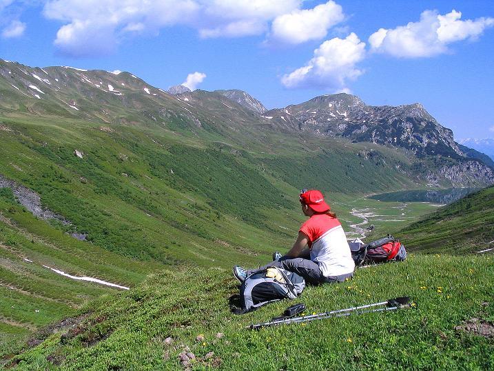 Foto: Andreas Koller / Wander Tour / Glingspitze und Rifflgrat (2433 m) / Rast mit Tappenkarsee-Blick / 24.06.2008 18:13:02