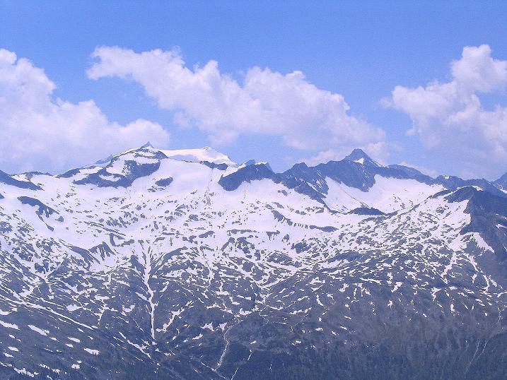 Foto: Andreas Koller / Wander Tour / Glingspitze und Rifflgrat (2433 m) / Blick vom Gipfel auf den Ankogel (3252 m) / 24.06.2008 18:06:00
