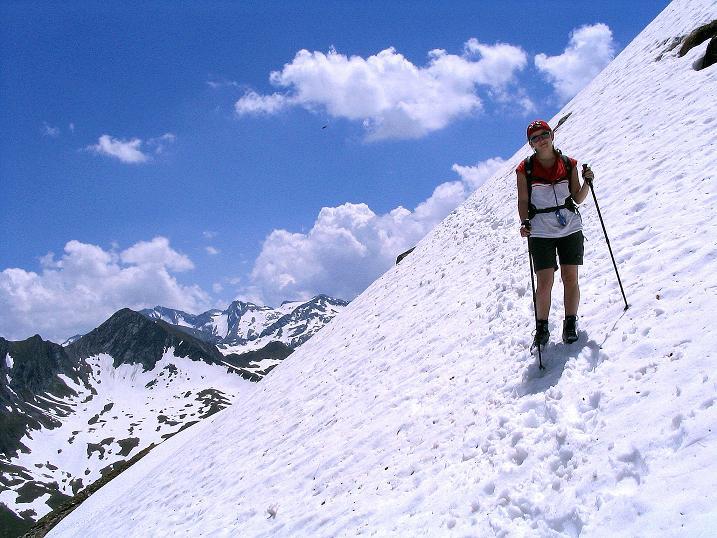Foto: Andreas Koller / Wander Tour / Glingspitze und Rifflgrat (2433 m) / Schneefeldquerung um den Vorgipfel zum N-Grat / 24.06.2008 18:05:33