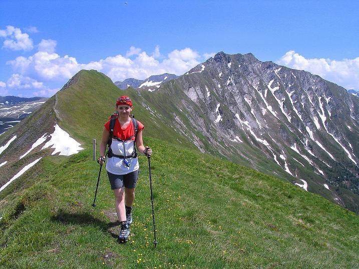 Foto: Andreas Koller / Wander Tour / Glingspitze und Rifflgrat (2433 m) / Die letzten Meter zum Kreuzeck mit Blick auf den Rifflgrat und die Glingspitze / 24.06.2008 17:59:09