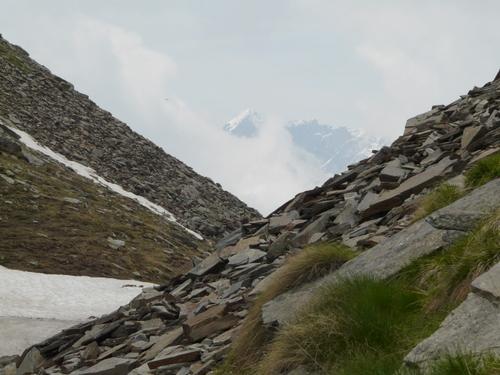 Foto: Karl Mätzler / Wander Tour / Grande Traversata delle Alpi (GTA), Etappe 7, Rima - Pedemonte / Colle Mud mit Blick auf den Corno Bianco, 3320m / 13.07.2008 23:03:34