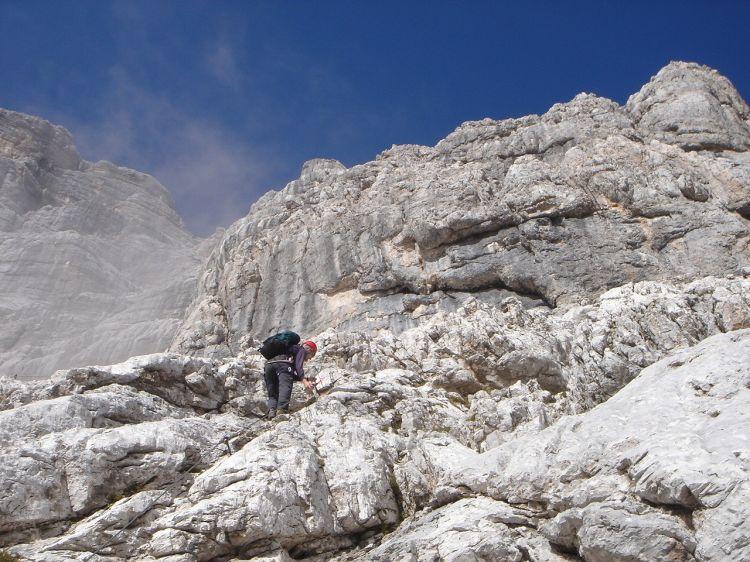 Foto: Manfred Karl / Klettersteig Tour / Civetta Überschreitung - Via ferrata degli Alleghesi und Abstieg über Via ferrata Attilio Tissi / Die ersten Meter dienen zum Aufwärmen / 19.07.2008 14:30:38