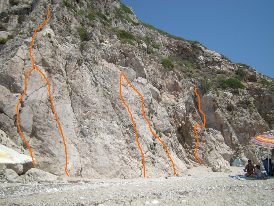 Foto: Michael Wörgötter / Kletter Tour / Sportkletterrouten auf der Insel Lefkas / Lefkada in Griechenland / Topo wurde eigenhändig erstellt und muss nicht den tatsächlichen Routenverläufen entsprechen. Potential für einige leichtere Routen wäre noch vorhanden. / 19.08.2008 12:59:43