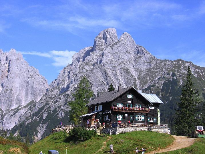 Foto: Andreas Koller / Wander Tour / Mödlinger Hütte und Pfarrmauer (1995 m) / Die Mödlinger Hütte am Fuße des Reichenstein (2251 m) / 08.09.2008 22:23:00