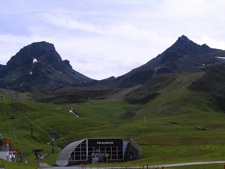 Foto: Andreas Koller / Klettersteig Tour / Flimspitze Klettersteig (2929m) / Links Bürkelkopf (3032 m), links Flimspitze von der Idalp / 08.09.2008 23:17:34