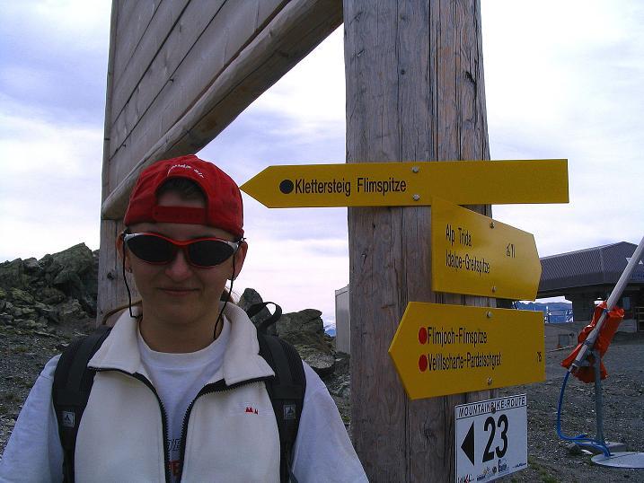 Foto: Andreas Koller / Klettersteig Tour / Flimspitze Klettersteig (2929m) / Wegweiser zum Flimspitz-Klettersteig / 08.09.2008 23:16:45