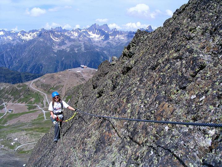 Foto: Andreas Koller / Klettersteig Tour / Flimspitze Klettersteig (2929m) / In der ausgesetzten SW-Platte / 08.09.2008 23:15:07