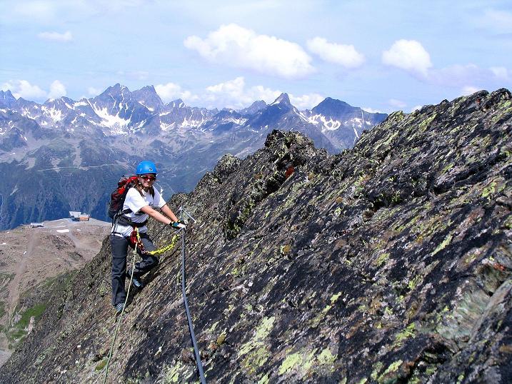 Foto: Andreas Koller / Klettersteig Tour / Flimspitze Klettersteig (2929m) / Am Ende der Platte / 08.09.2008 23:14:33