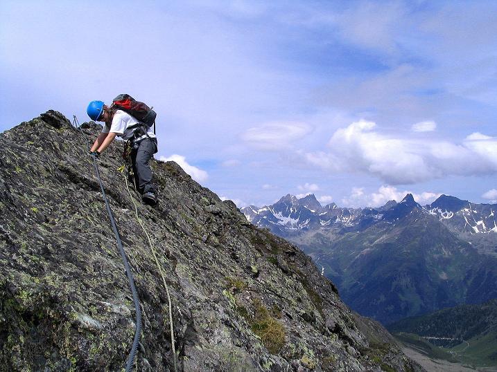 Foto: Andreas Koller / Klettersteig Tour / Flimspitze Klettersteig (2929m) / Am unschwierigen Grat / 08.09.2008 23:14:12