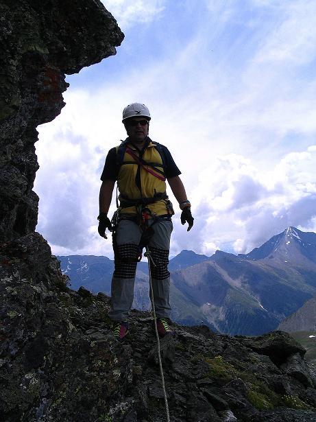 Foto: Andreas Koller / Klettersteig Tour / Flimspitze Klettersteig (2929m) / Kurze Rast vor der Schlüsselstelle / 08.09.2008 23:13:56