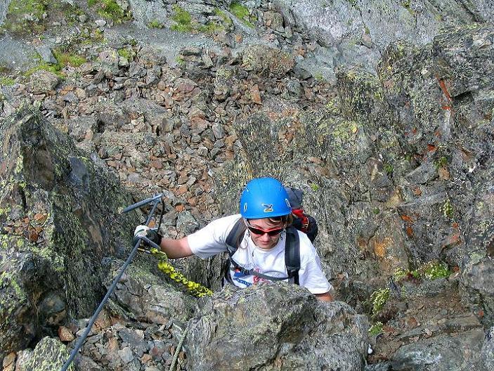 Foto: Andreas Koller / Klettersteig Tour / Flimspitze Klettersteig (2929m) / Im Kamin / 08.09.2008 23:12:55