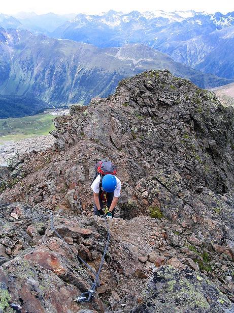 Foto: Andreas Koller / Klettersteig Tour / Flimspitze Klettersteig (2929m) / Die letzten Meter am SW-Grat / 08.09.2008 23:11:40