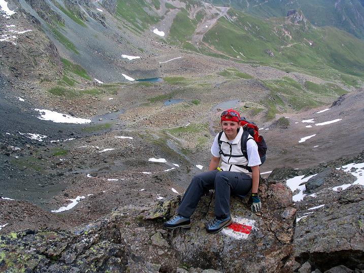 Foto: Andreas Koller / Klettersteig Tour / Flimspitze Klettersteig (2929m) / Rast am N-Grat  / 08.09.2008 23:08:53