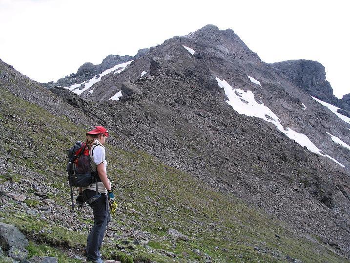 Foto: Andreas Koller / Klettersteig Tour / Flimspitze Klettersteig (2929m) / Im Abstieg vom Flimjoch zeigt sich der N-Grat (= Normalweg) der Flimspitze / 08.09.2008 23:07:33