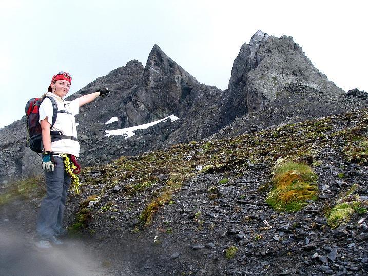 Foto: Andreas Koller / Klettersteig Tour / Flimspitze Klettersteig (2929m) / Letzter Blick auf die SW-Platte der Flimspitze / 08.09.2008 23:06:09