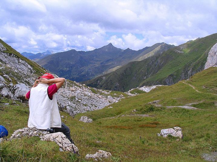 Foto: Andreas Koller / Klettersteig Tour / Via Sartor auf den Hochweißstein / Monte Peralba (2694m) / Rast am Hochalpjoch / 10.09.2008 00:08:40