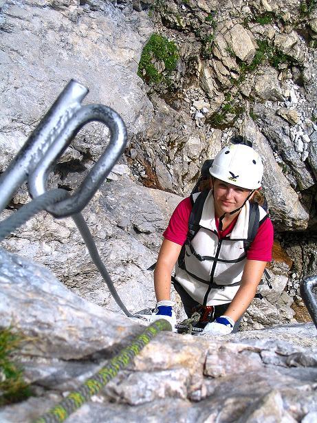Foto: Andreas Koller / Klettersteig Tour / Via Sartor auf den Hochweißstein / Monte Peralba (2694m) / Gut gesichert in der S-Wand / 10.09.2008 00:05:17