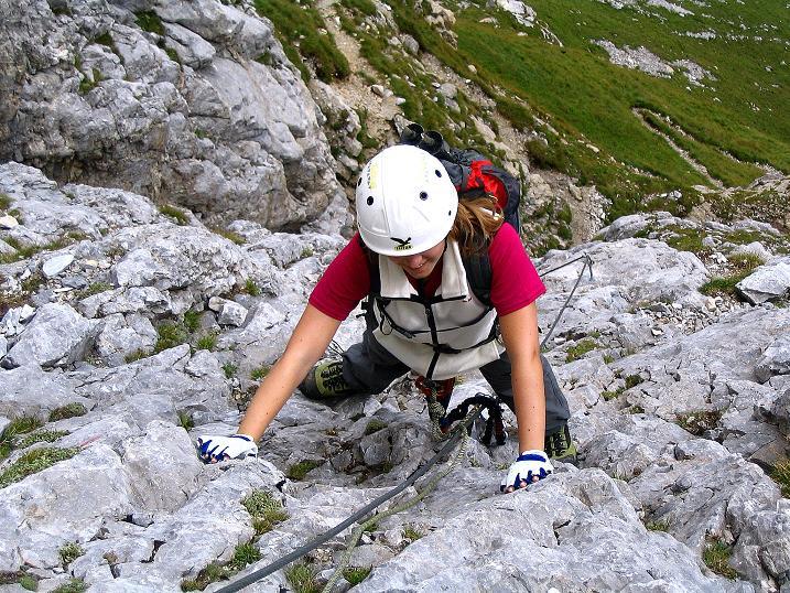 Foto: Andreas Koller / Klettersteig Tour / Via Sartor auf den Hochweißstein / Monte Peralba (2694m) / Die steile S-Wand / 10.09.2008 00:04:53