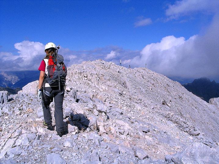Foto: Andreas Koller / Klettersteig Tour / Via Sartor auf den Hochweißstein / Monte Peralba (2694m) / Die letzten Meter zum Gipfel / 10.09.2008 00:01:27