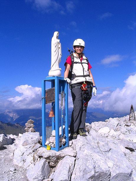 Foto: Andreas Koller / Klettersteig Tour / Via Sartor auf den Hochweißstein / Monte Peralba (2694m) / Am Gipfel mit Madonna-Statue / 10.09.2008 00:01:11