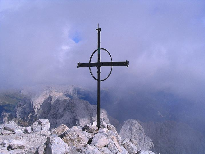 Foto: Andreas Koller / Klettersteig Tour / Via Sartor auf den Hochweißstein / Monte Peralba (2694m) / Gipfelkreuz am Hochweißstein / 10.09.2008 00:00:48