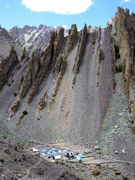 Foto: Andreas Koller / Wander Tour / Vom Stok Gompa auf den Stok Ri (5002m) / In der Tiefe das Zeltlager Hamlung / 10.09.2008 01:02:29