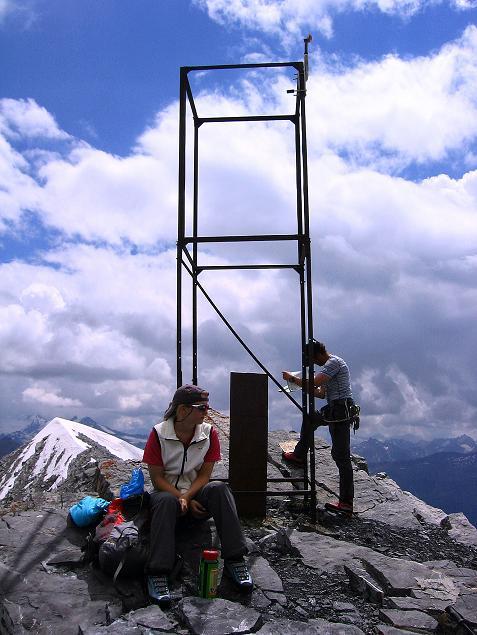 Foto: Andreas Koller / Wander Tour / Historische Tour auf die Payerspitze (3446m) / Gipfelzeichen auf der Geisterspitze / 11.09.2008 03:04:07