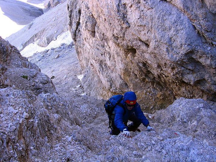 Foto: Andreas Koller / Klettersteig Tour / Kesselkogel Westroute (3002m) / Die Einstiegspassage ohne Versicherungen (I) / 11.09.2008 23:43:56