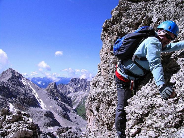 Foto: Andreas Koller / Klettersteig Tour / Kesselkogel Westroute (3002m) / Luftig und steil über dem Vajolettal / 11.09.2008 23:42:44