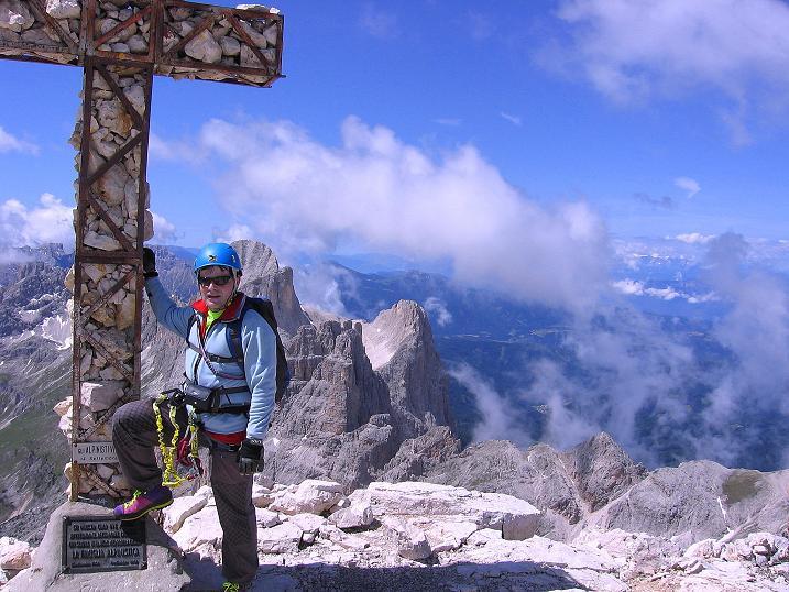 Foto: Andreas Koller / Klettersteig Tour / Kesselkogel Westroute (3002m) / Kesselkogel-Gipfelkreuz / 11.09.2008 23:28:01