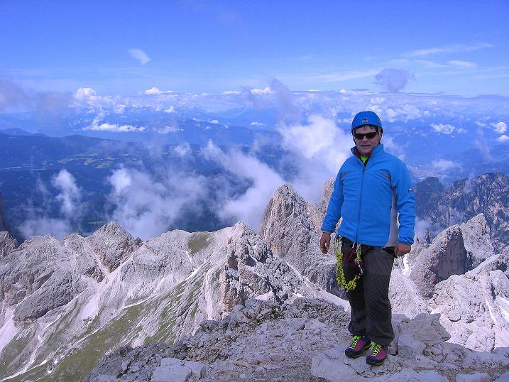 Foto: Andreas Koller / Klettersteig Tour / Kesselkogel Westroute (3002m) / Am höchsten Punkt des Rosengartens: der Kesselkogel / 11.09.2008 23:27:08